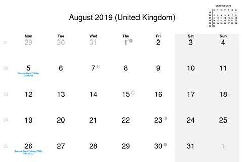 August 2019 Calendar with UK Holidays