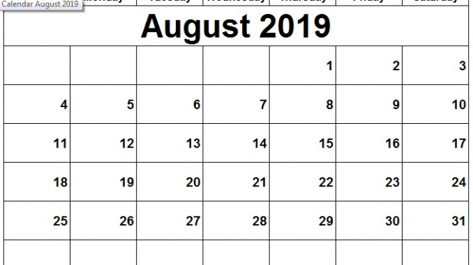 image about Free Printable Calendar August identified as ✅ 20+ Cost-free August 2019 Calendar Printable Blank Templates