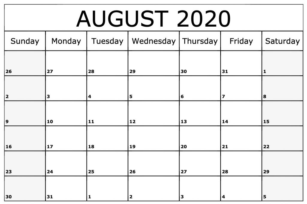 August 2020 Calendar Printable Template