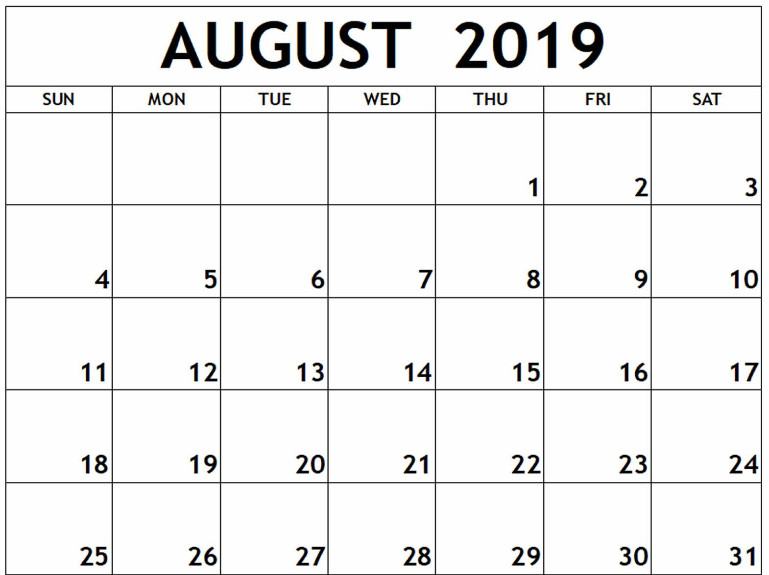 August Calendar 2019 with Holidays
