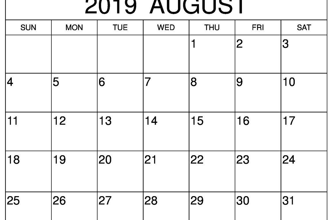 Blank August 2019 Calendar Weekly