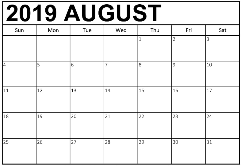 photo regarding Free Printable Calendar August identified as Every month Printable Calendar August 2019 - Absolutely free August 2019