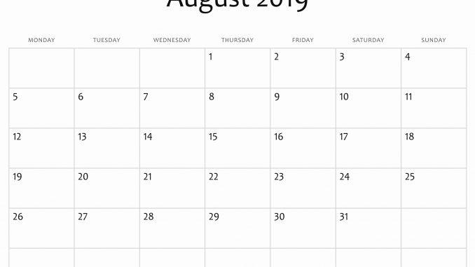 Printable August 2019 Calendar Page