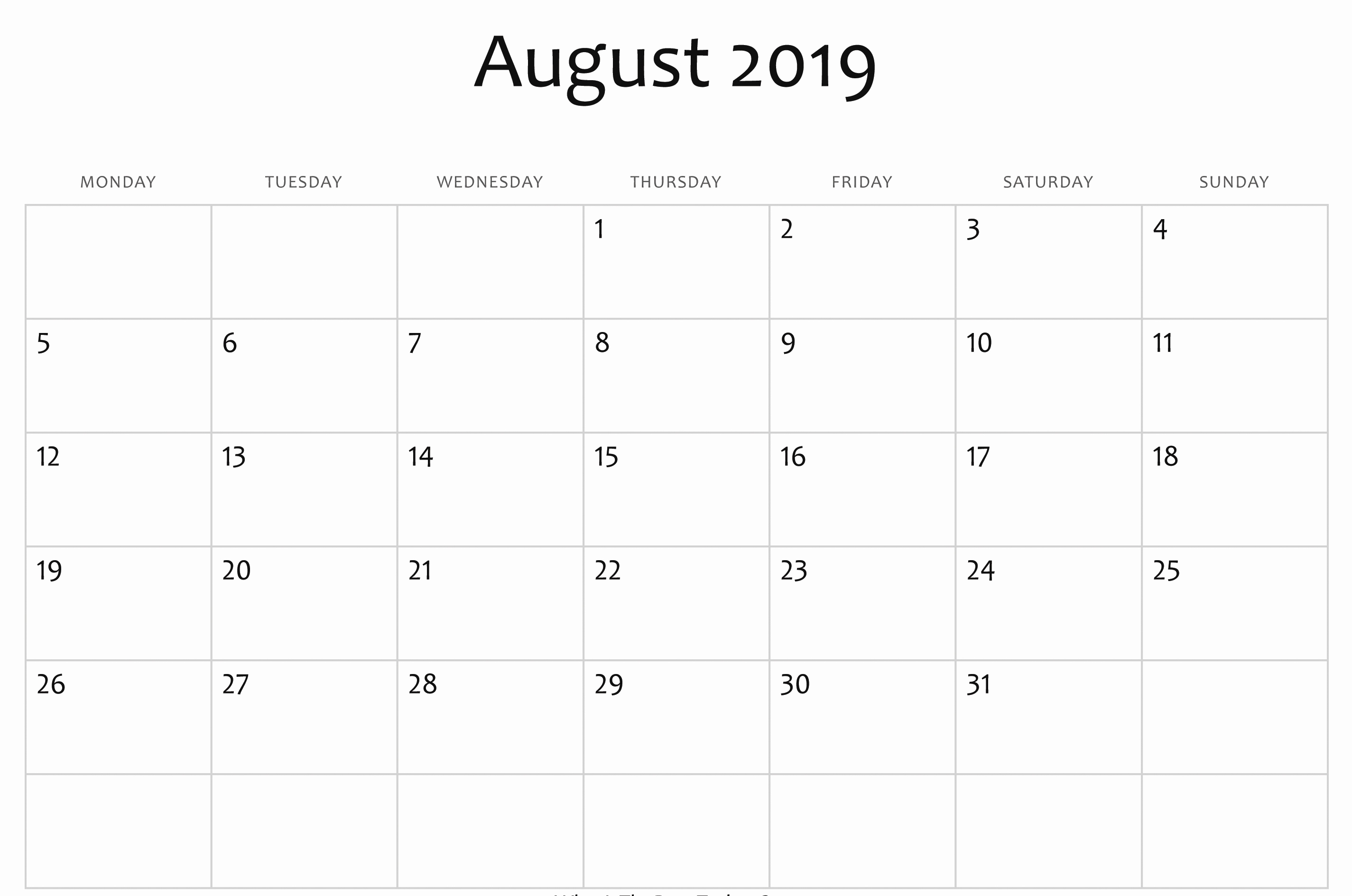 Printable August 2019 Calendar Page