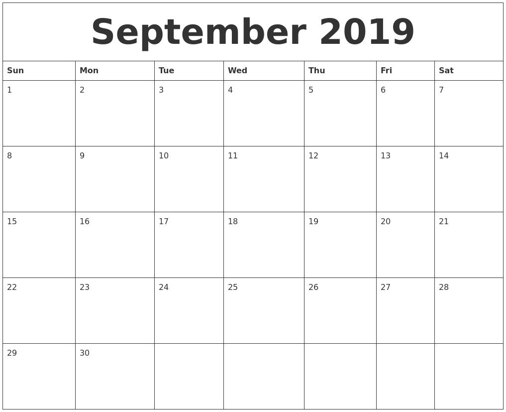 2019 September Blank Calendar