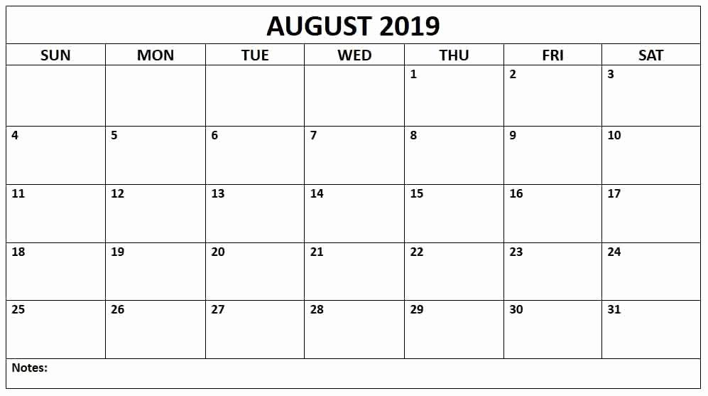 August 2019 Calendar PDF