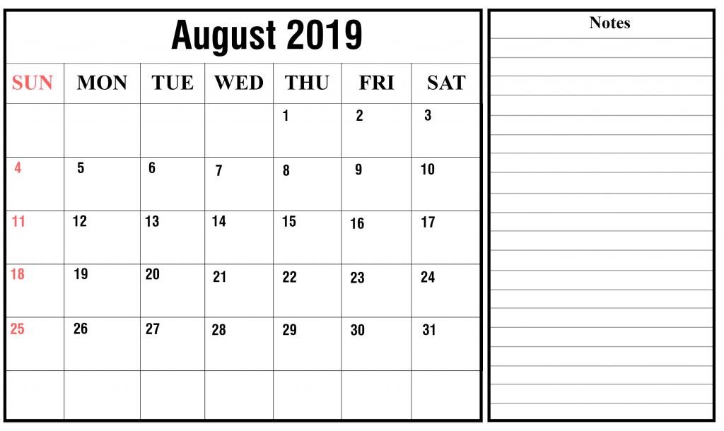 August 2019 Notes Calendar