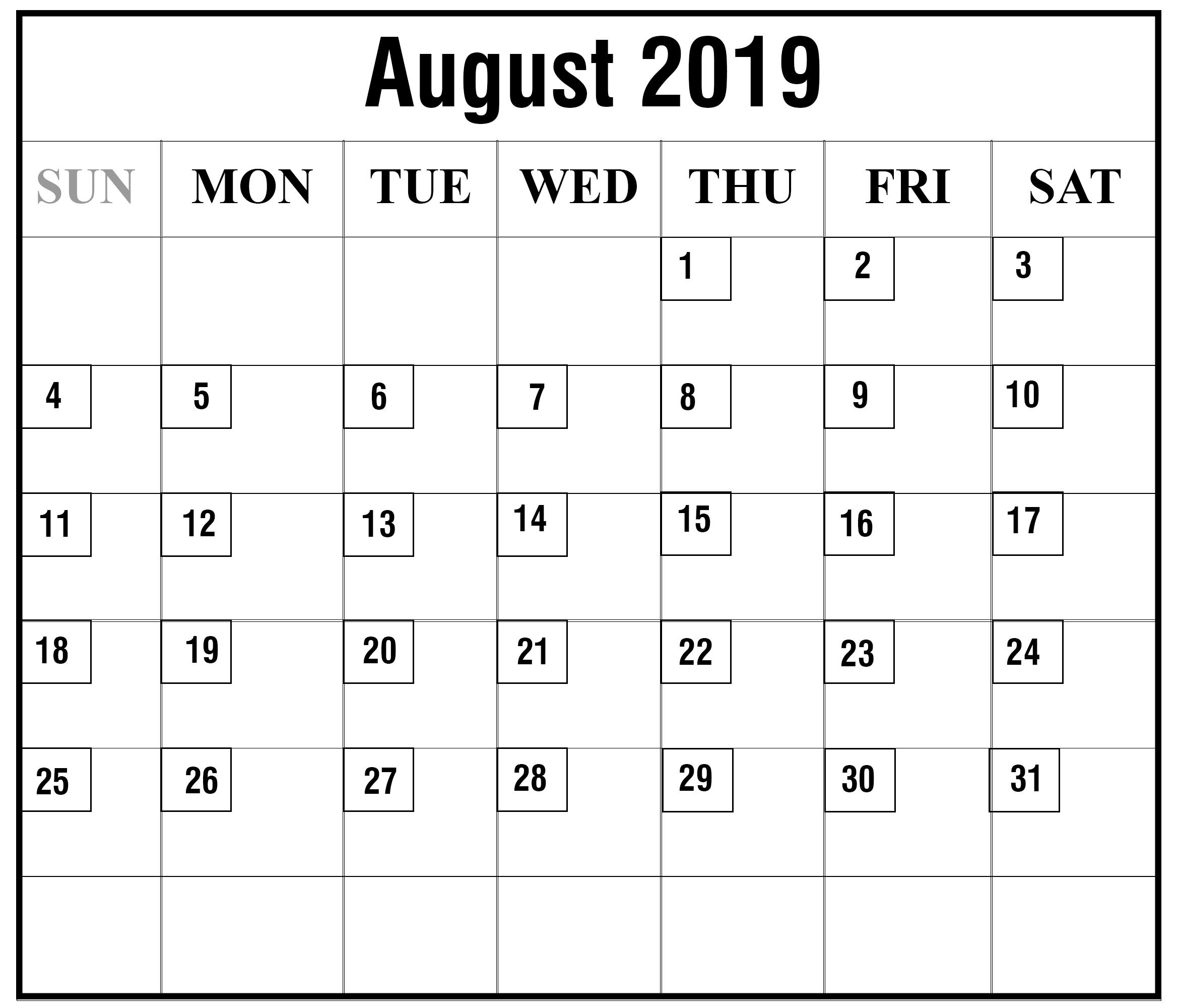 August 2019 PDF Calendar