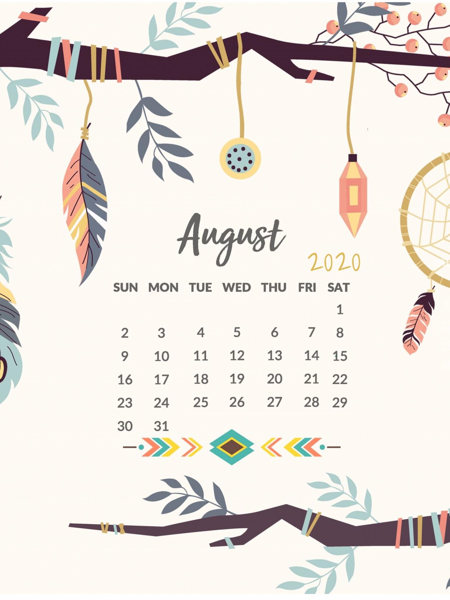 August 2020 Calendar A4 Size