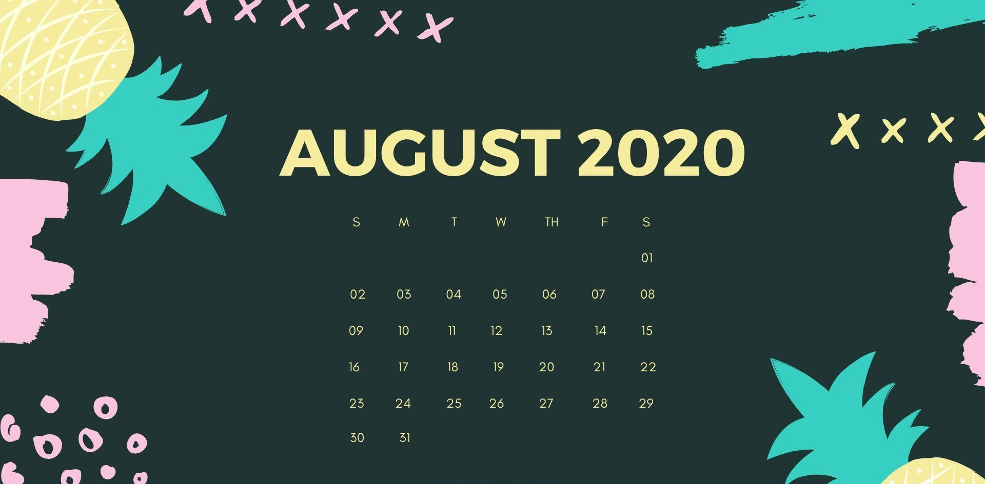August 2020 Calendar Cute