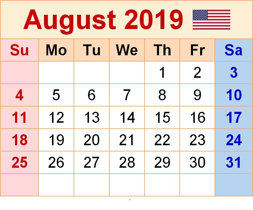 August Calendar 2019 PDF