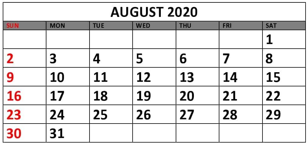 August Calendar 2020 PDF