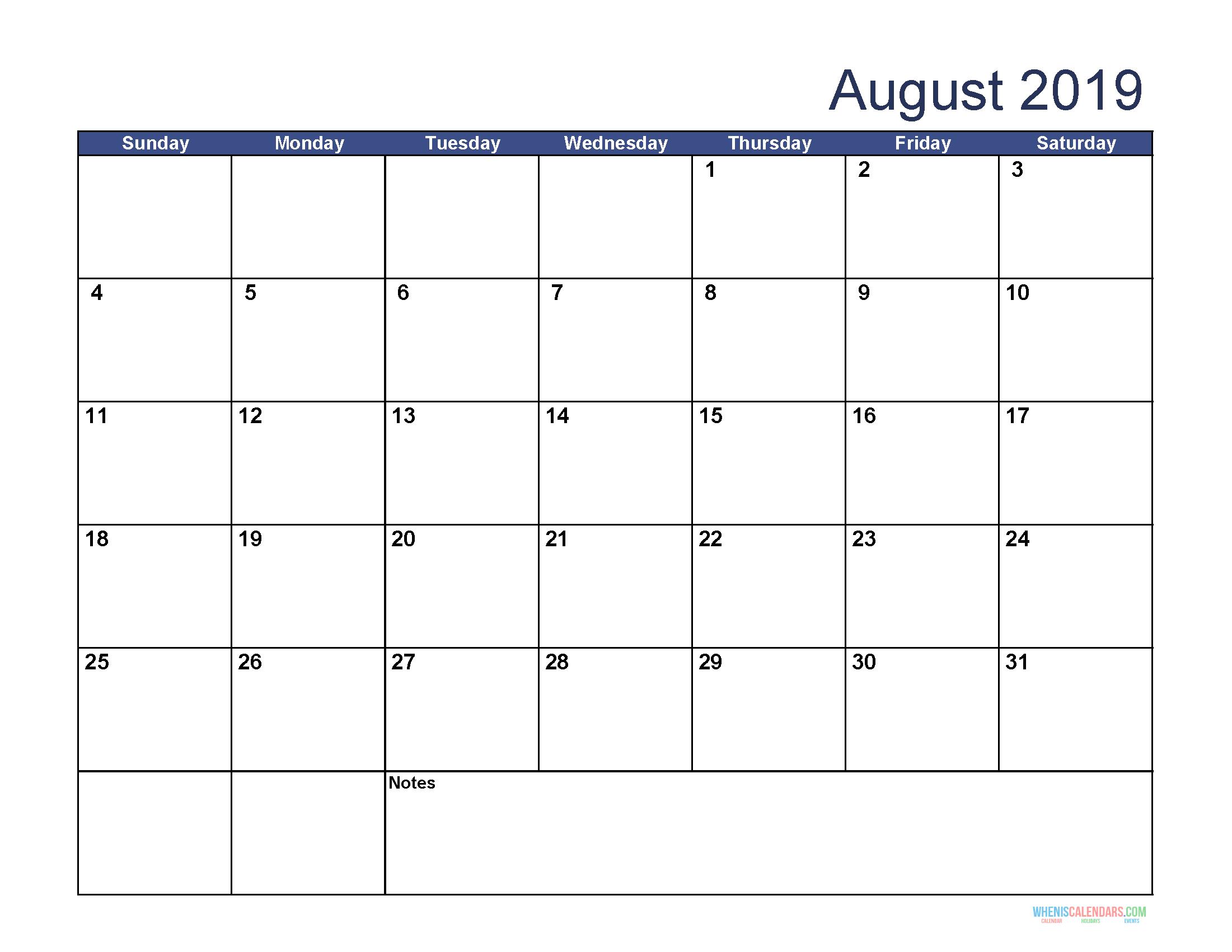 August PDF Calendar 2019