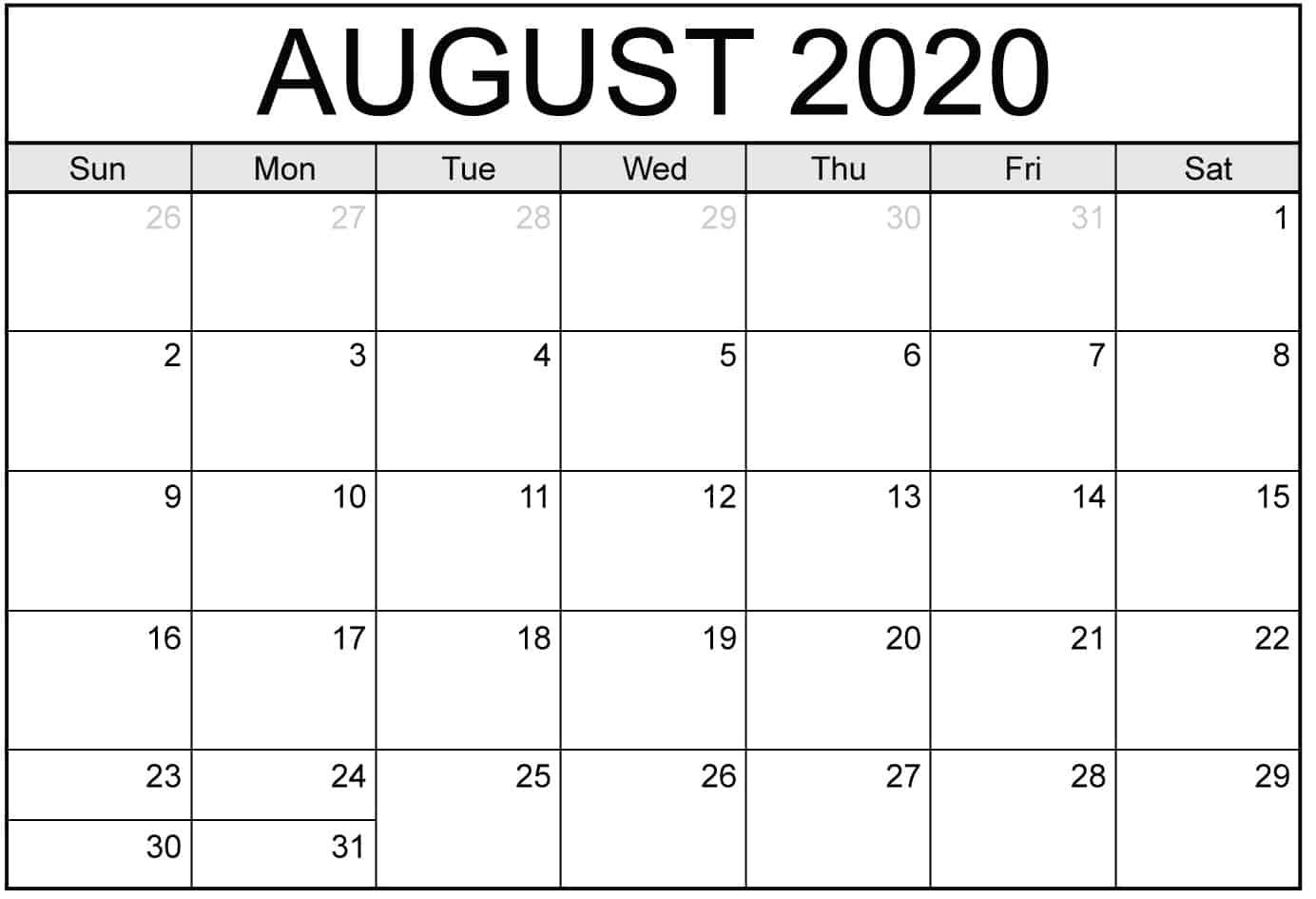 August PDF Calendar 2020