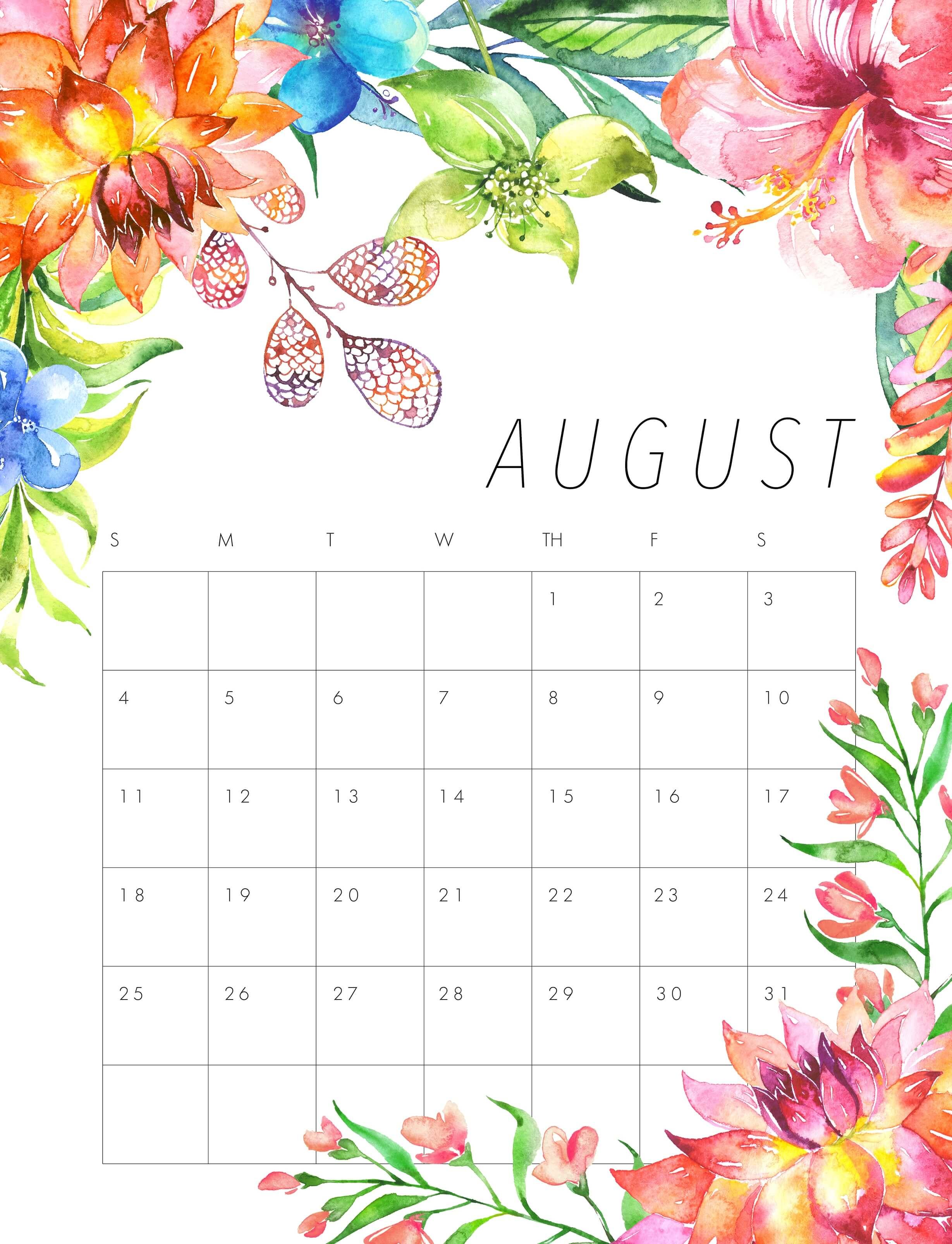 Cute August 2019 Calendar Floral Design