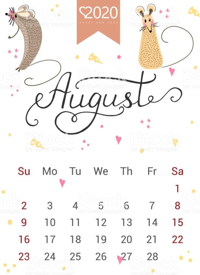 Floral August 2020 Wall Calendar