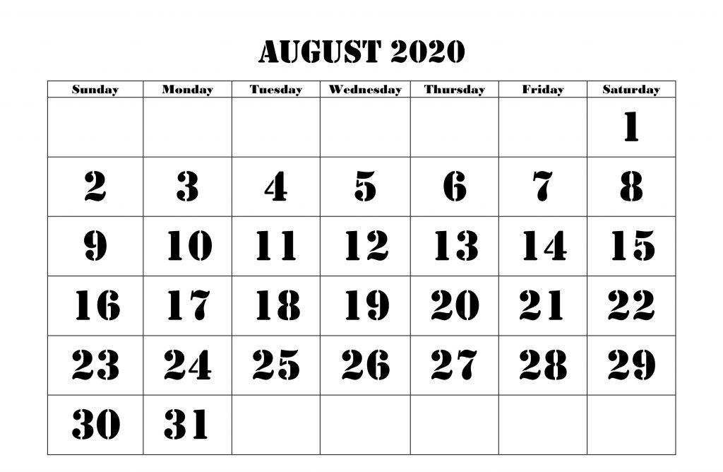 Free Download August 2020 Calendar Template