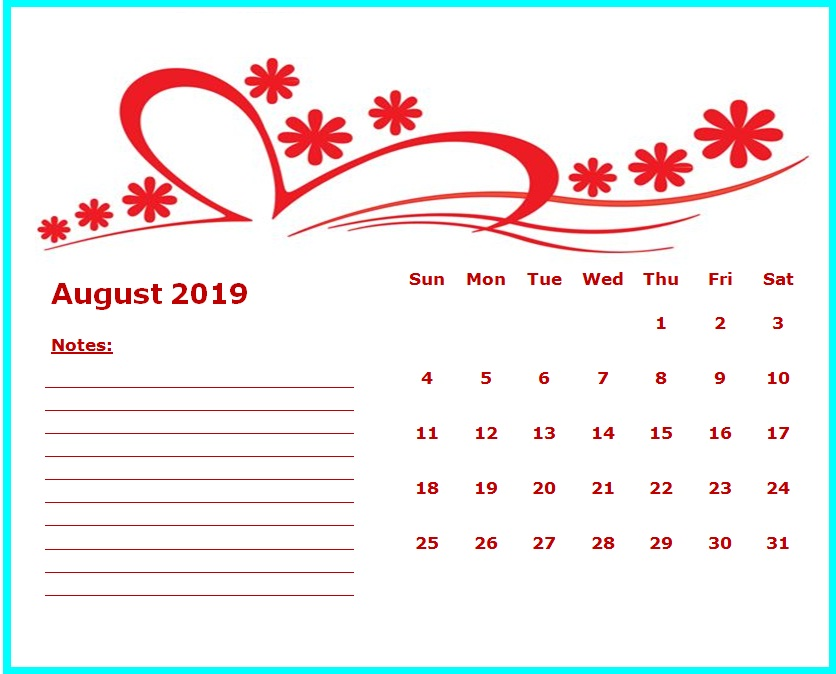 Monthly Cute Calendar August 2019