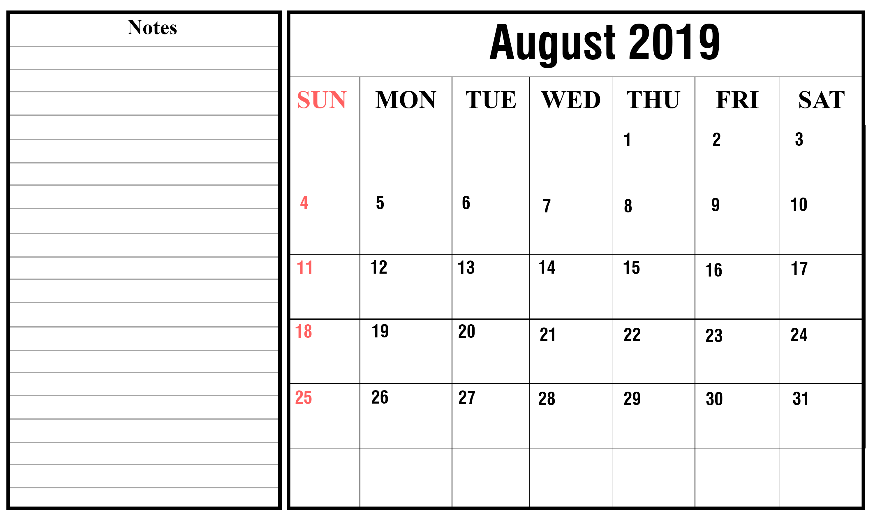 picture about Free August Calendar Printable called PDF Calendar August 2019 - No cost August 2019 Calendar
