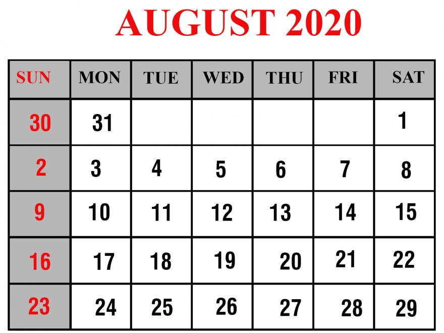 PDF Calendar August 2020