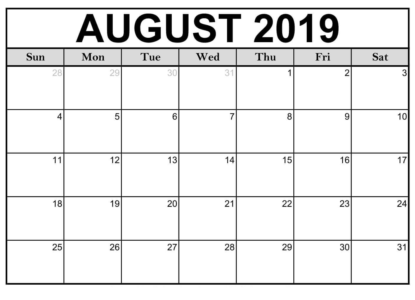 June July August 2019 Calendar Printable.Printable August 2019 Calendar Pdf Free August 2019 Calendar