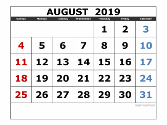 Printable August 2019 PDF Calendar