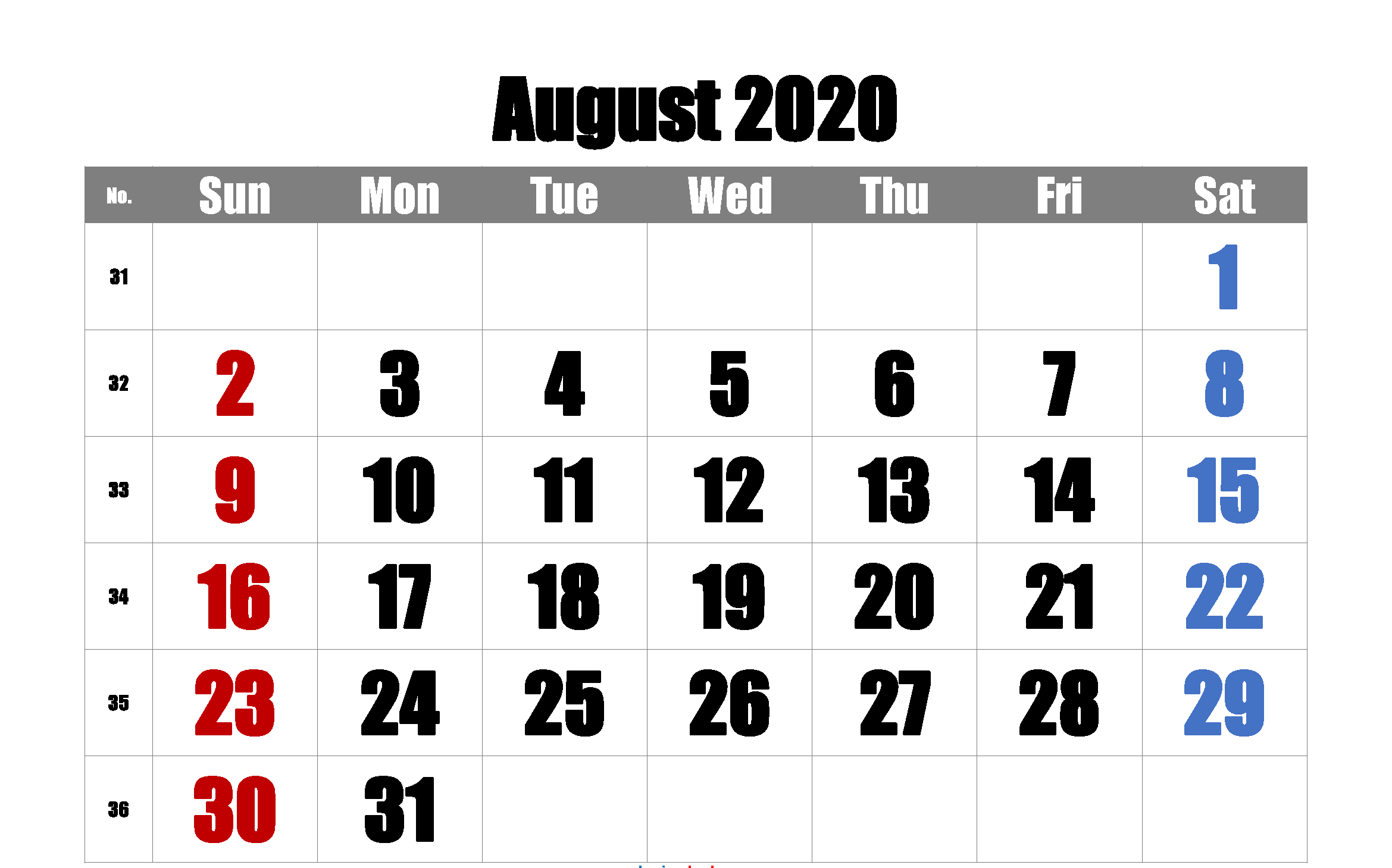 Printable August 2020 Calendar PDF