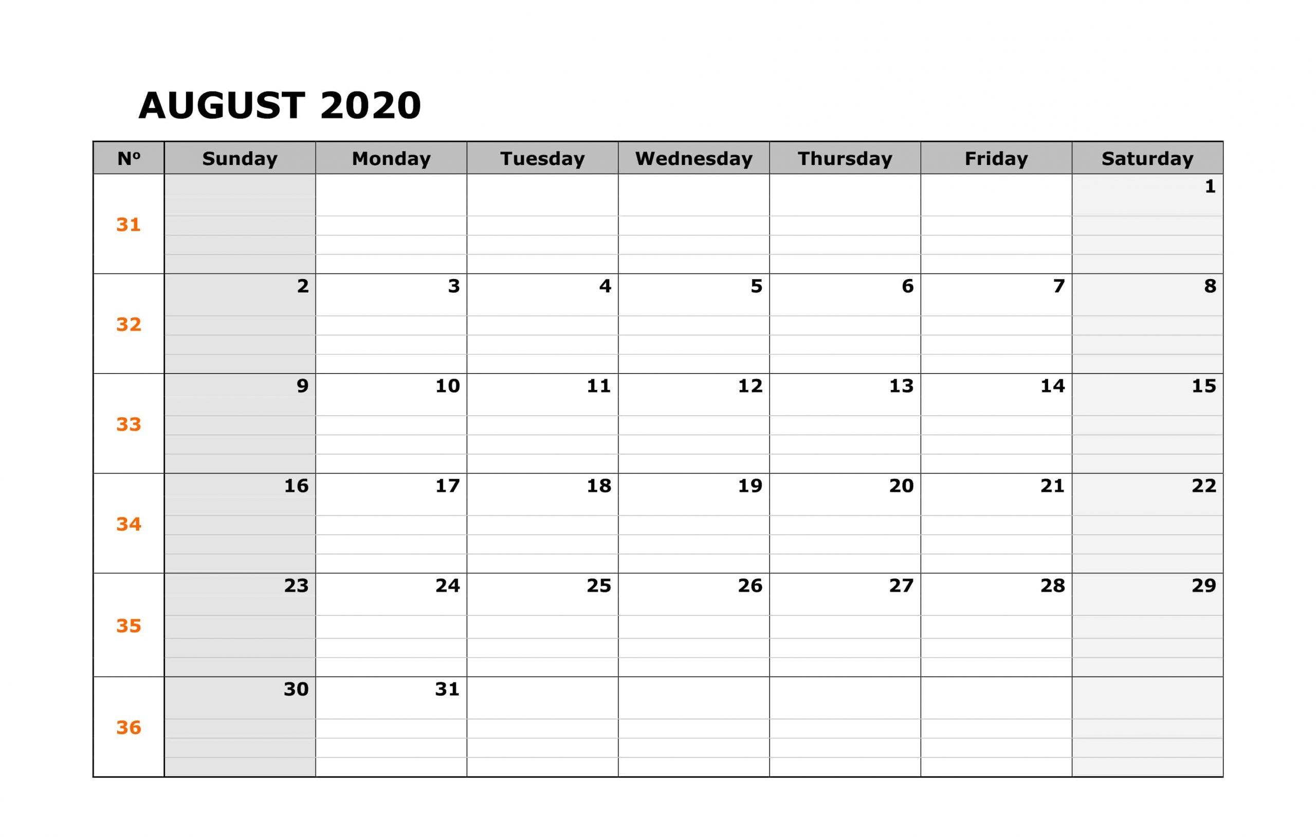 Printable August 2020 PDF Calendar