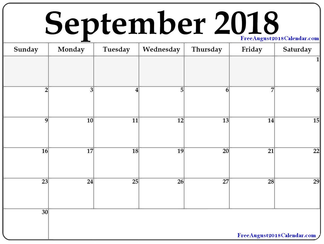 Sept 2018 Printable Calendar