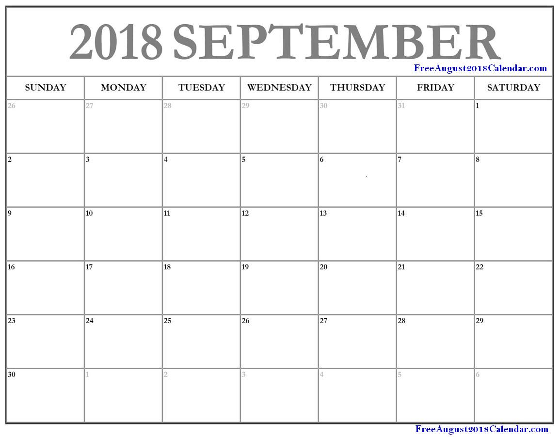September 2018 Calendar Page
