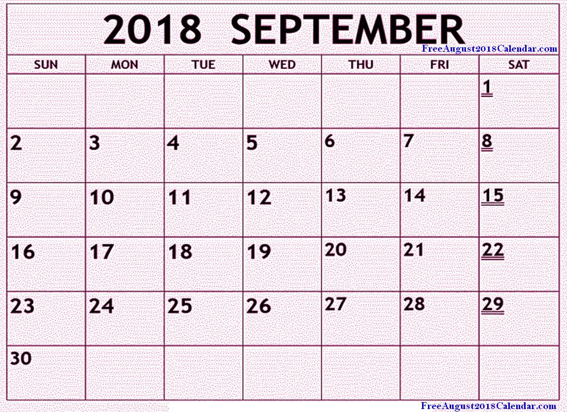 September 2018 Calendar Pink