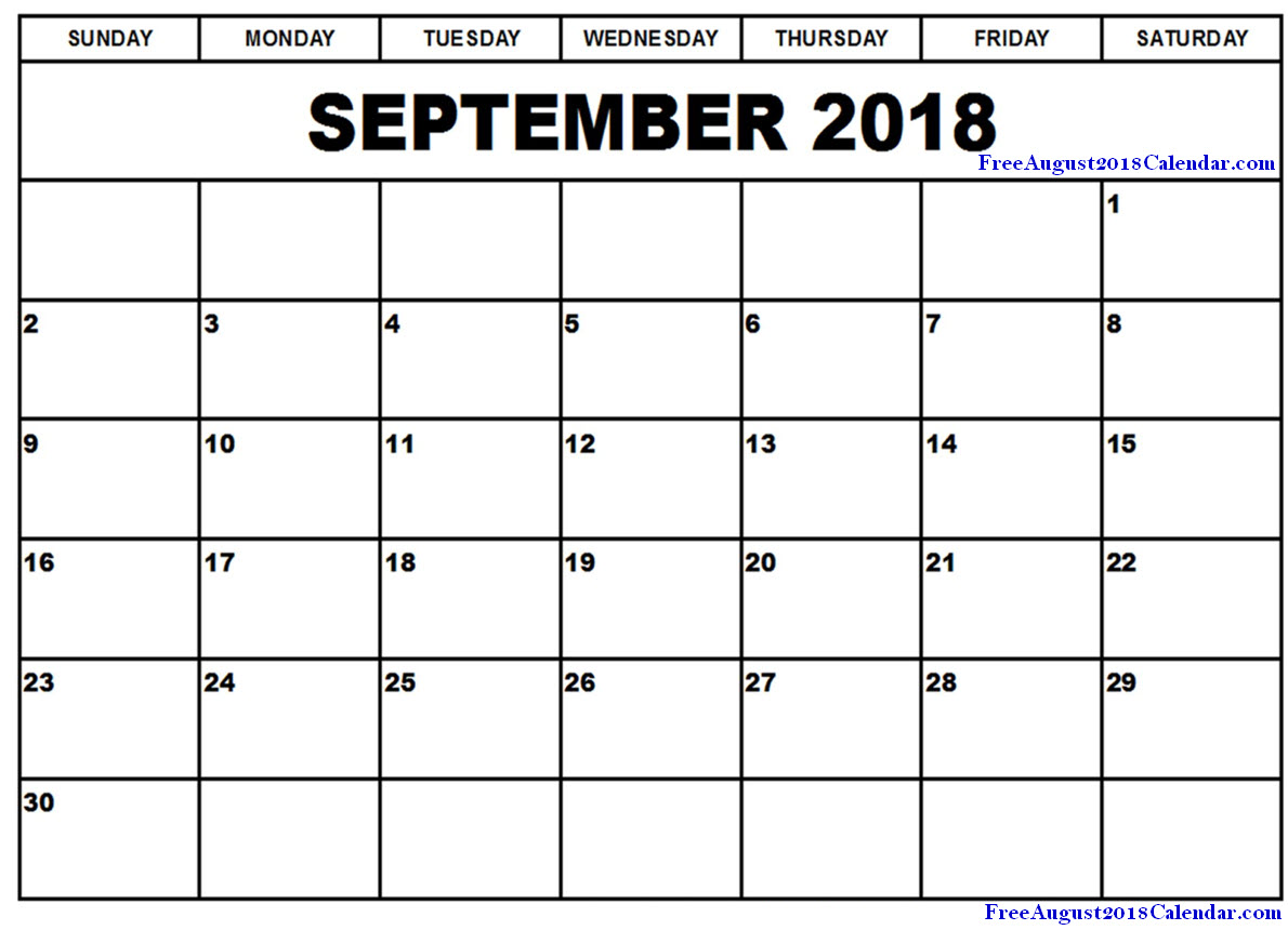 September 2018 Blank Calendar Template Printable Free Download