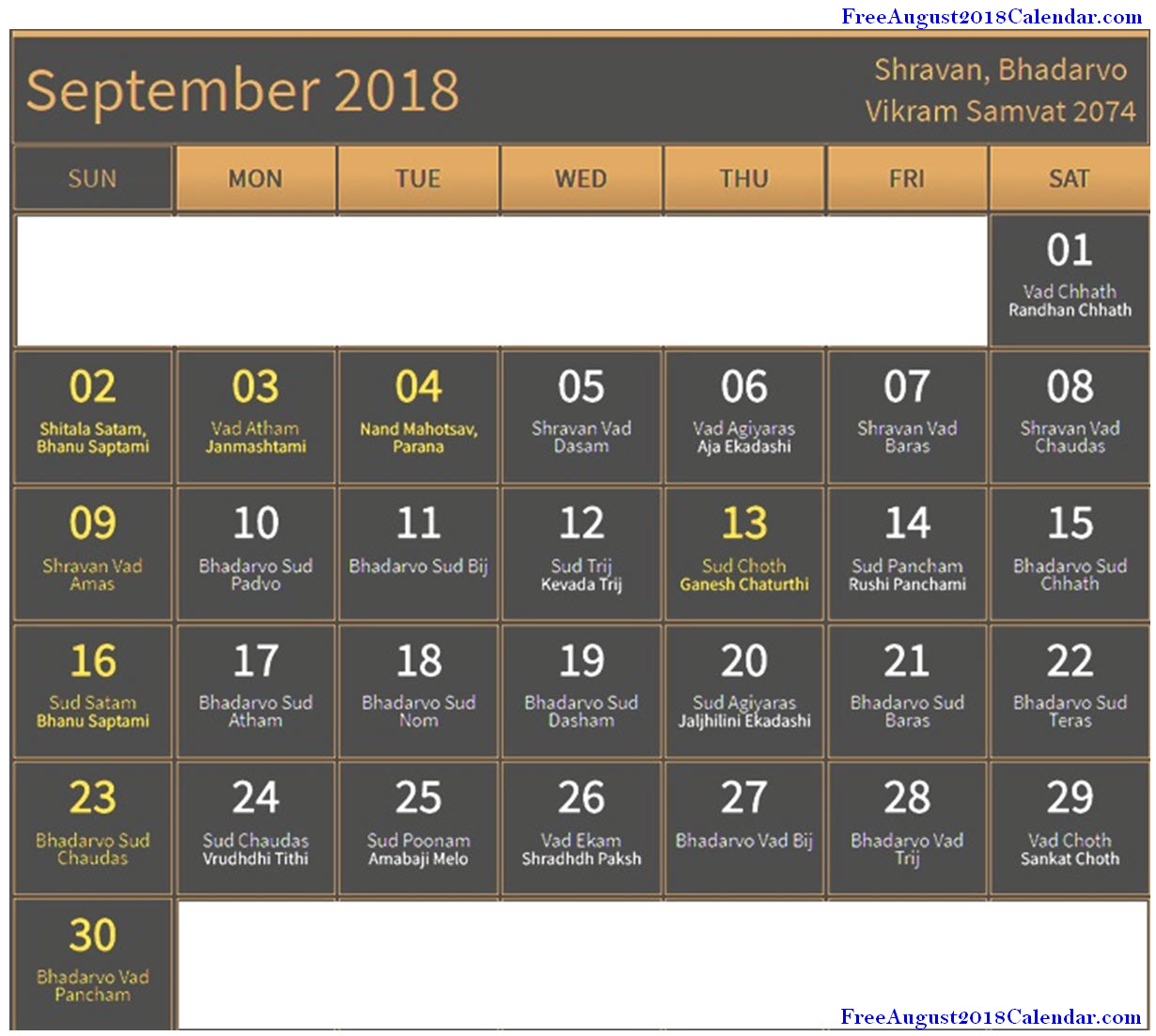 September 2018 Calendar with Festival Dates