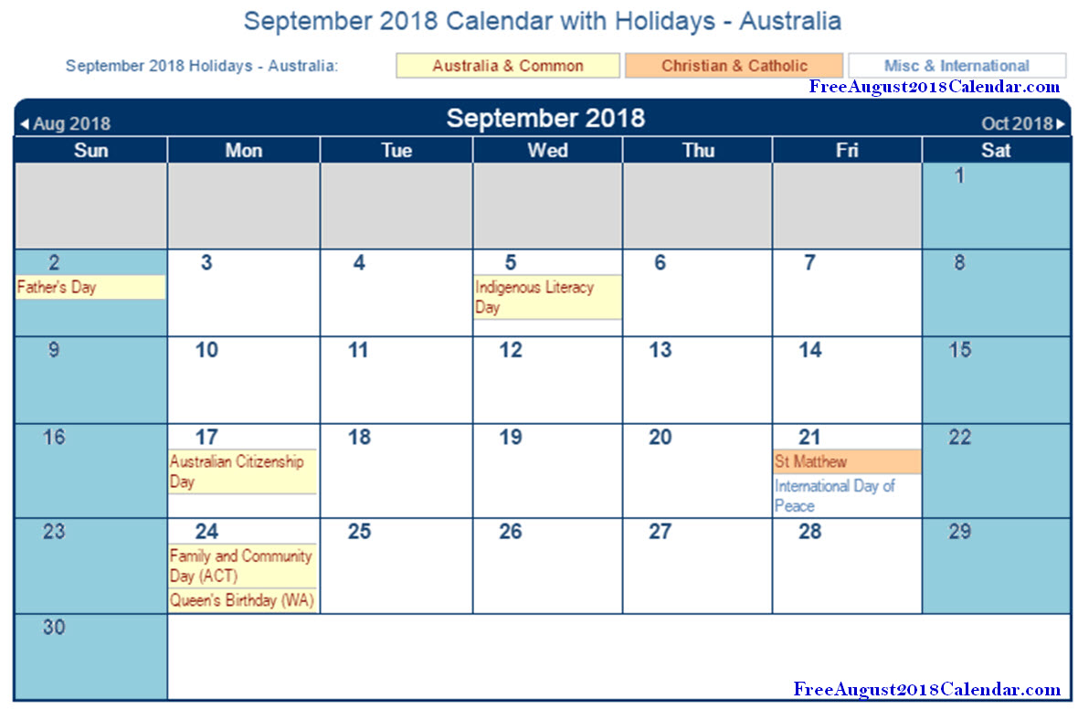 september 2018 calendar with holidays australia