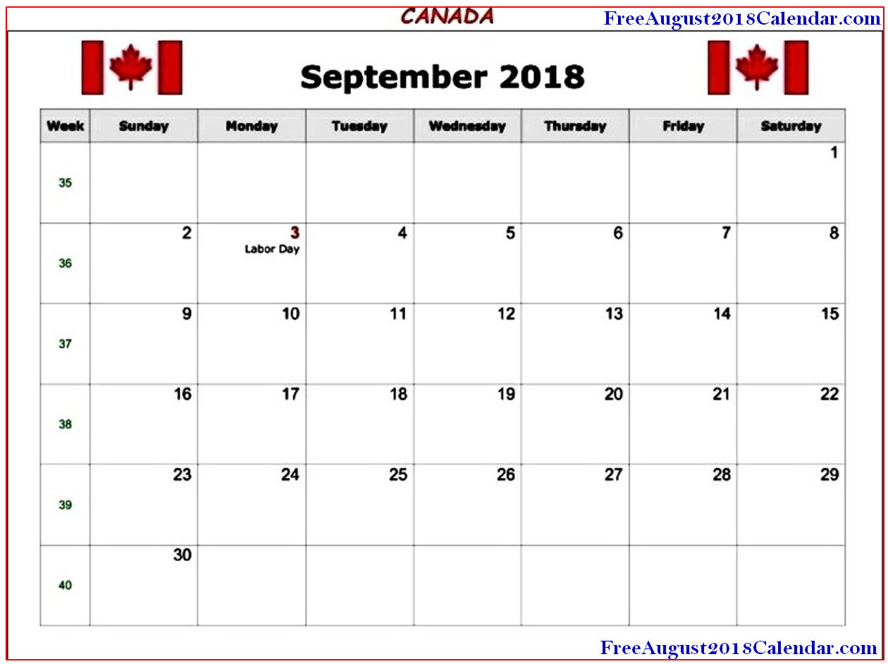 Best 50 September 2018 Calendar With Holidays Printable Country Wise