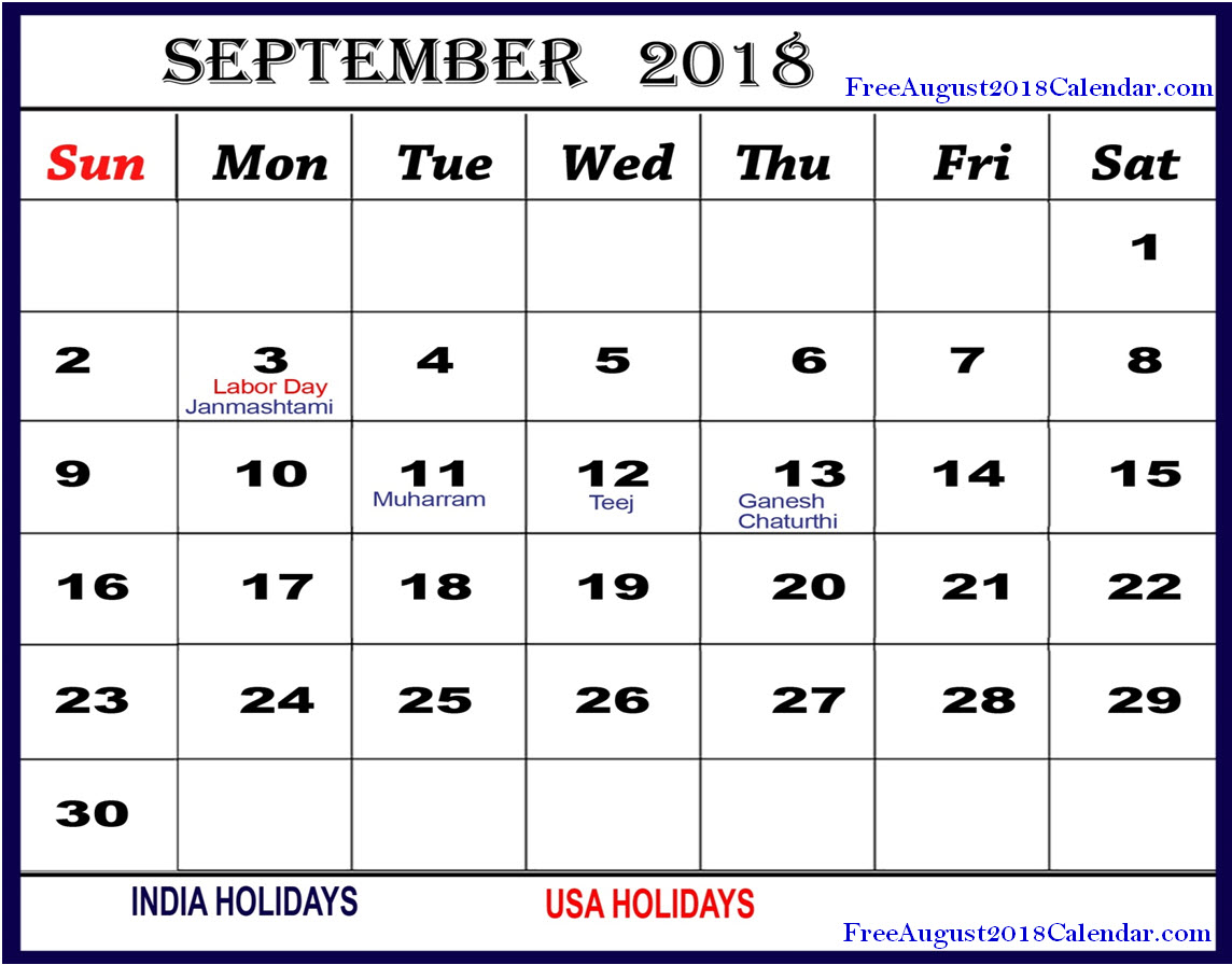 september 2018 calendar with holidays india