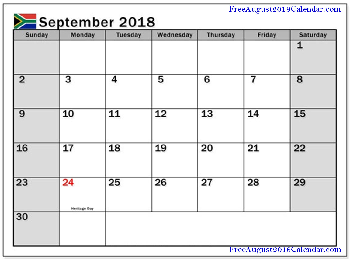 september 2018 calendar with holidays south africa