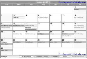 September 2018 Holidays