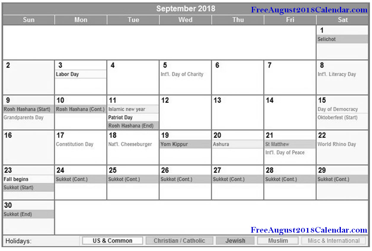September 2018 Holidays