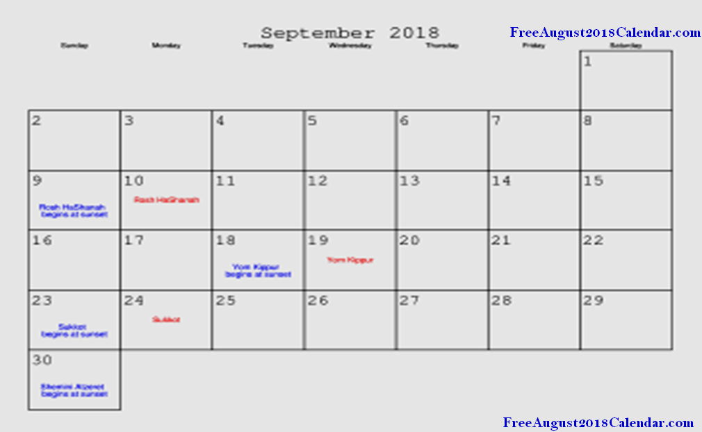 September 2018 Public Holidays