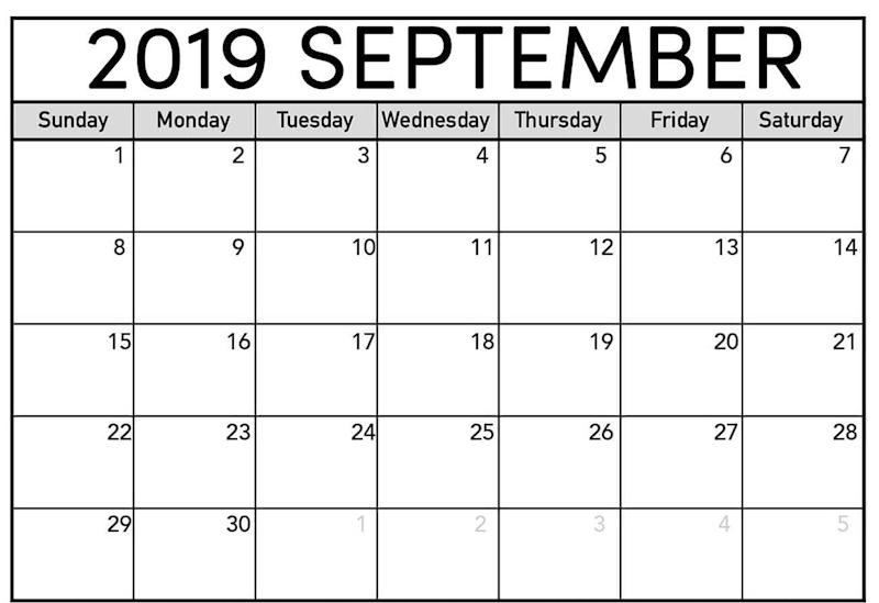 September 2019 Blank Calendar Template