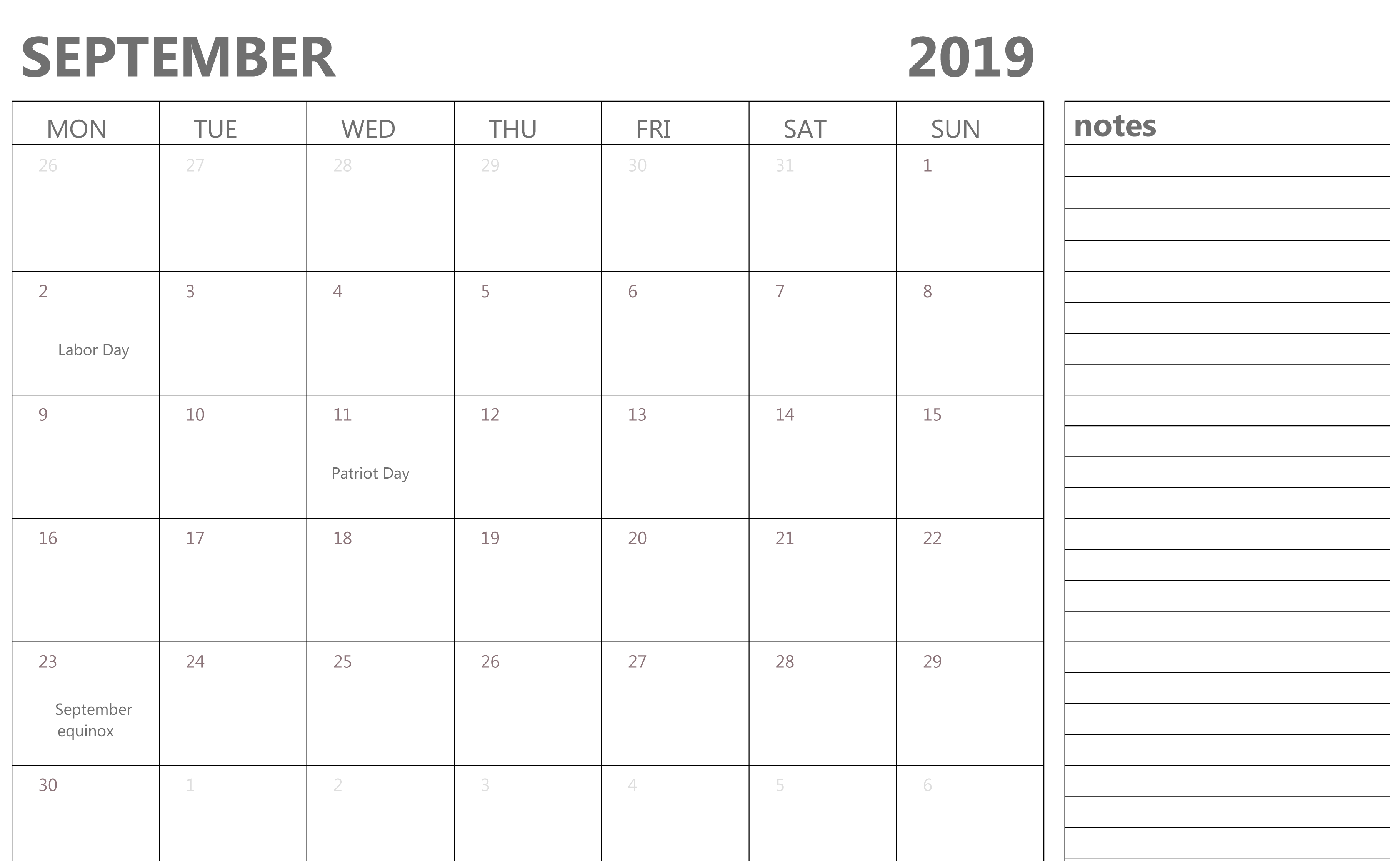 September 2019 Blank Calendar With Notes
