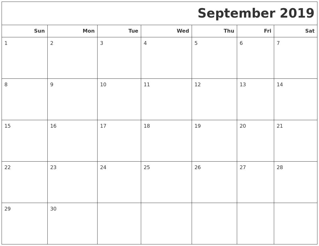 September 2019 Calendar Landscape