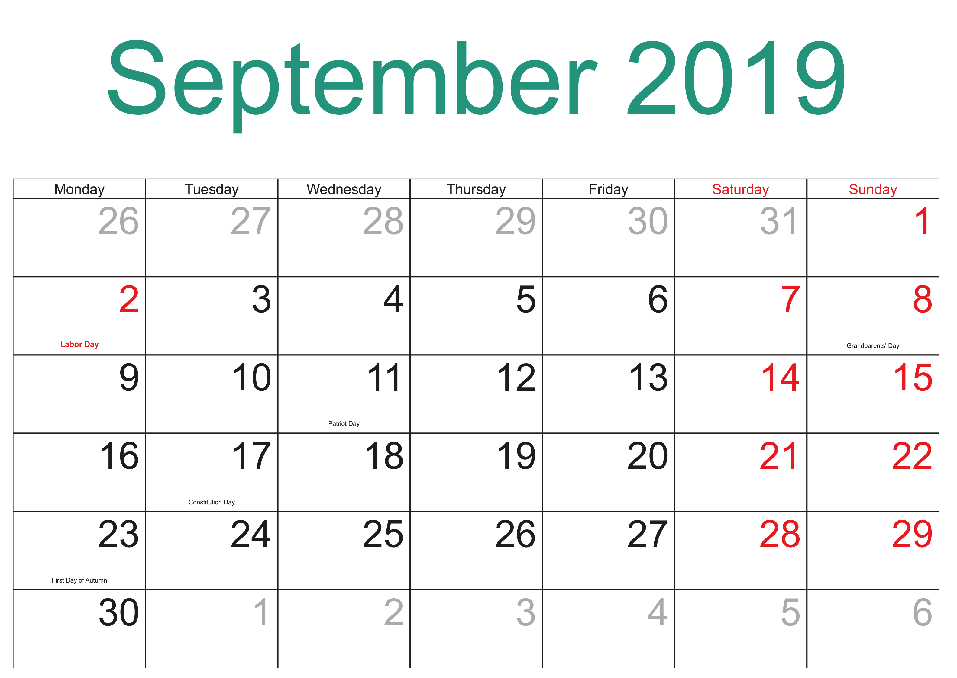 September 2019 Calendar NZ Public Holidays