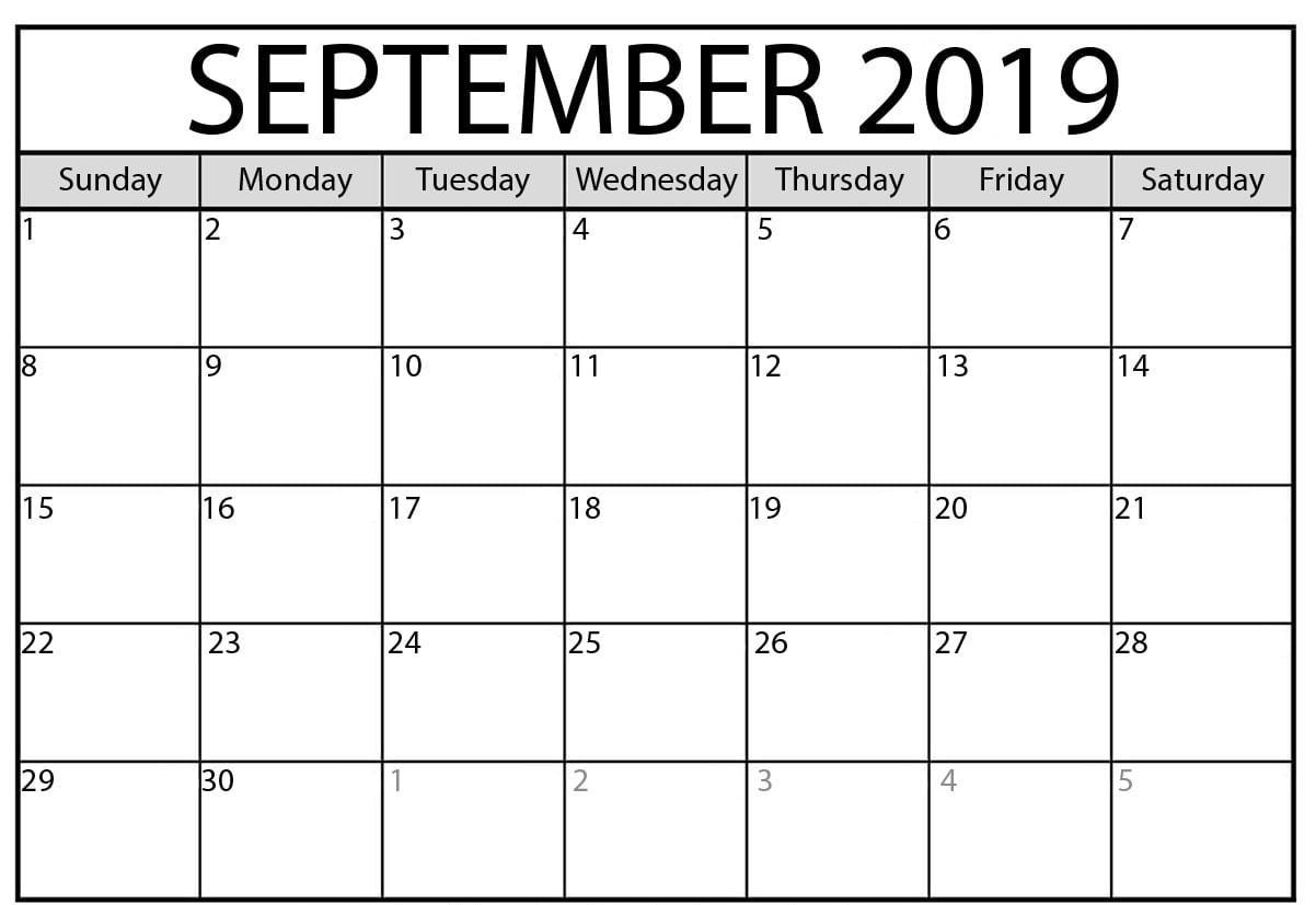 September 2019 Calendar PDF