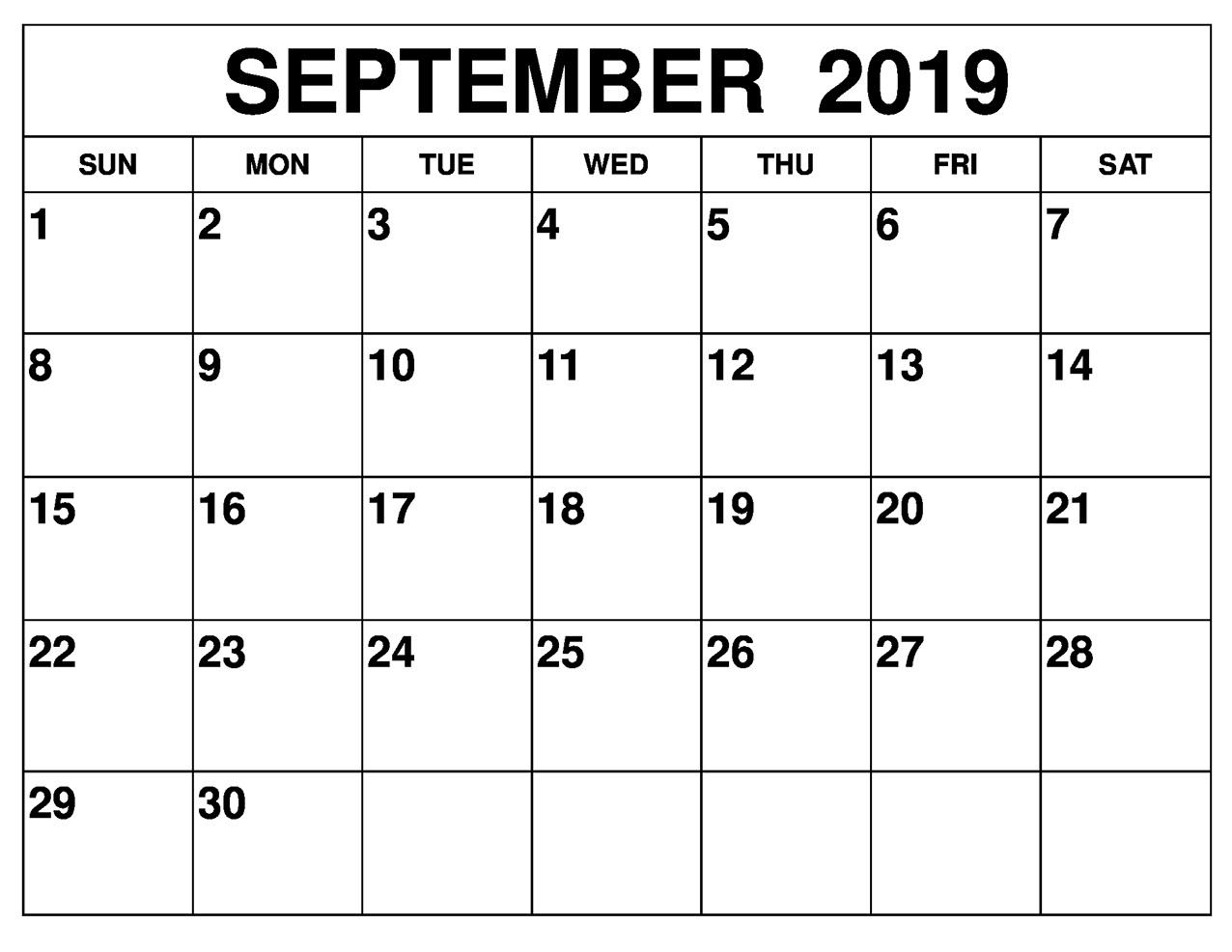 September 2019 Calendar Printable Free