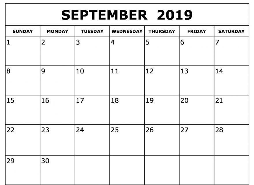 September 2019 Calendar Printable Printout