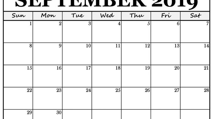 graphic about Free Printable September Calendar called ✓ September 2019 Blank Calendar Template Printable Free of charge