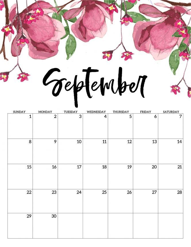 September 2019 Calendar Vertical