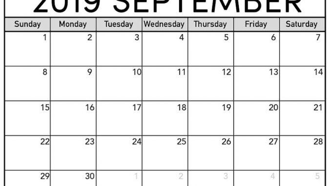 👉 Free September 2019 Calendar PDF Word Excel Page